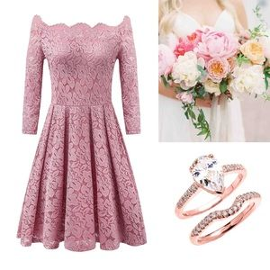 Dresses & Skirts - Rosy Lace Off Shoulder Swing Engagement Dress,S-XL